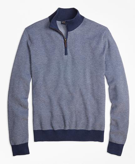 Supima® Cotton-Cashmere Textured Half-Zip Sweater