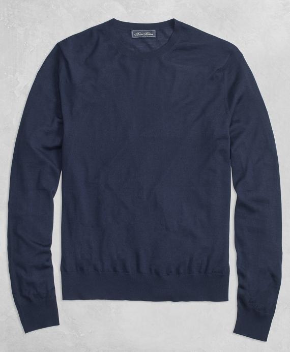 Golden Fleece® 3-D Knit Fine-Gauge Merino Crewneck Sweater Navy