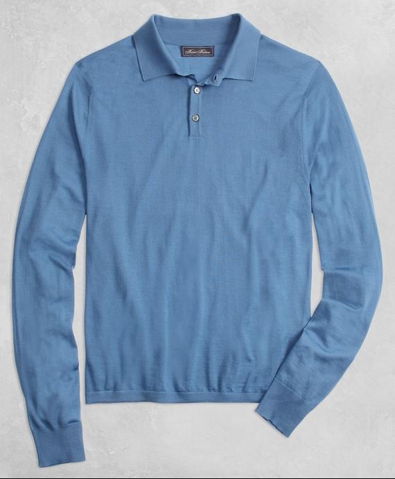 Golden Fleece® 3-D Knit Fine Gauge Merino Polo Sweater Blue