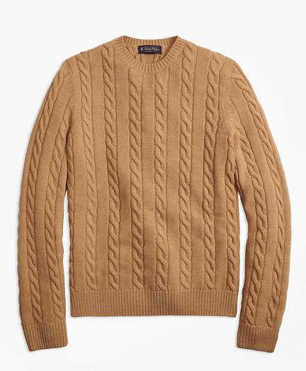 Baby Alpaca Blend Cable Knit Crewneck Sweater