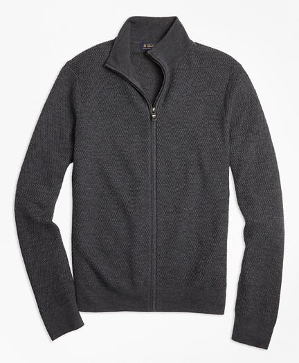 Textured Merino Wool Full-Zip Sweater