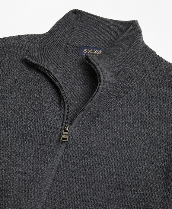 Textured Merino Wool Full Zip Sweater Brooks Brothers