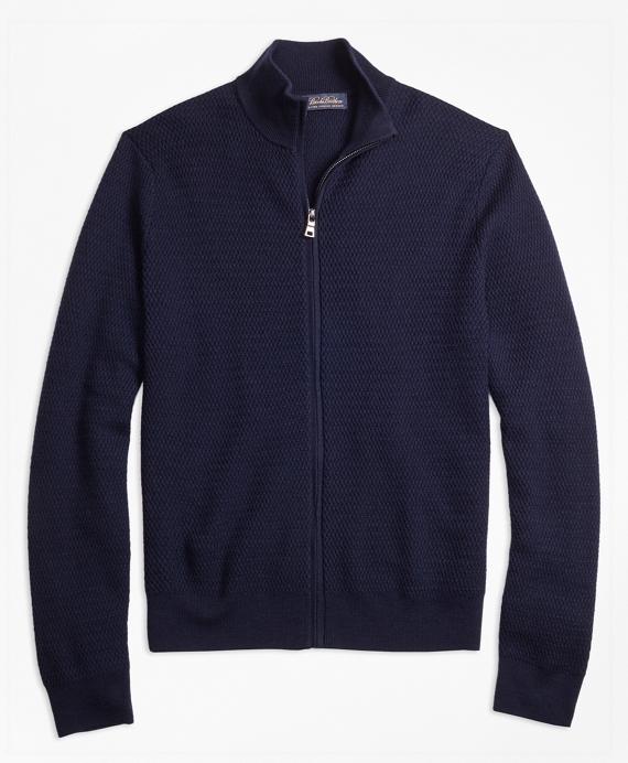 Textured Merino Wool Full-Zip Sweater Navy