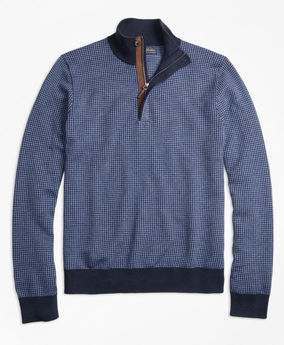 Supima® Cotton Cashmere Houndstooth Half-Zip Sweater Navy