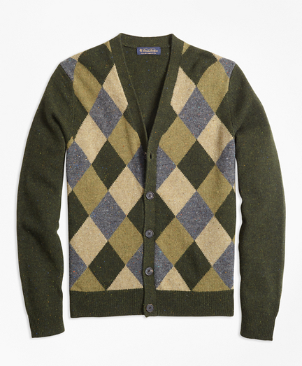 Lambswool Button-Front Argyle Cardigan