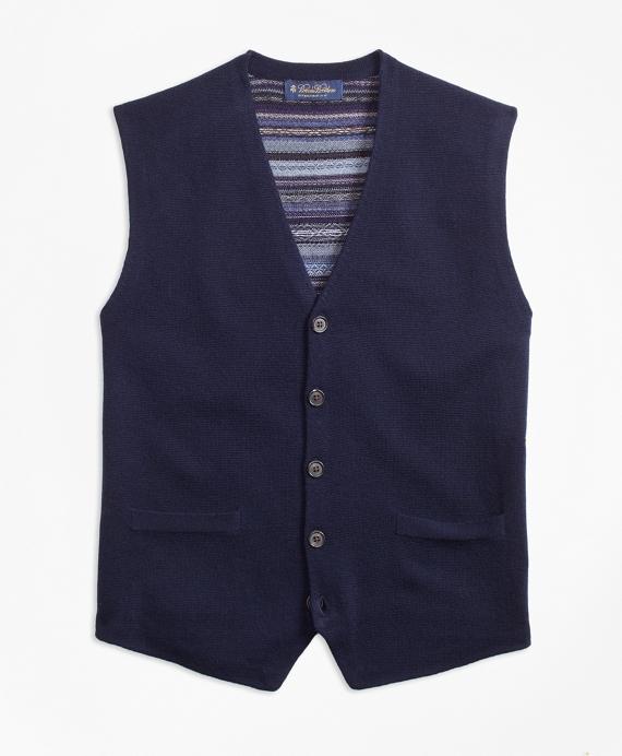 Merino Wool Fair Isle Waistcoat Blue