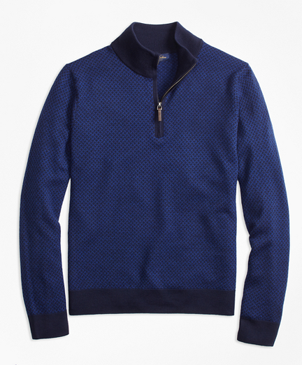 Merino Wool Basketweave Half-Zip