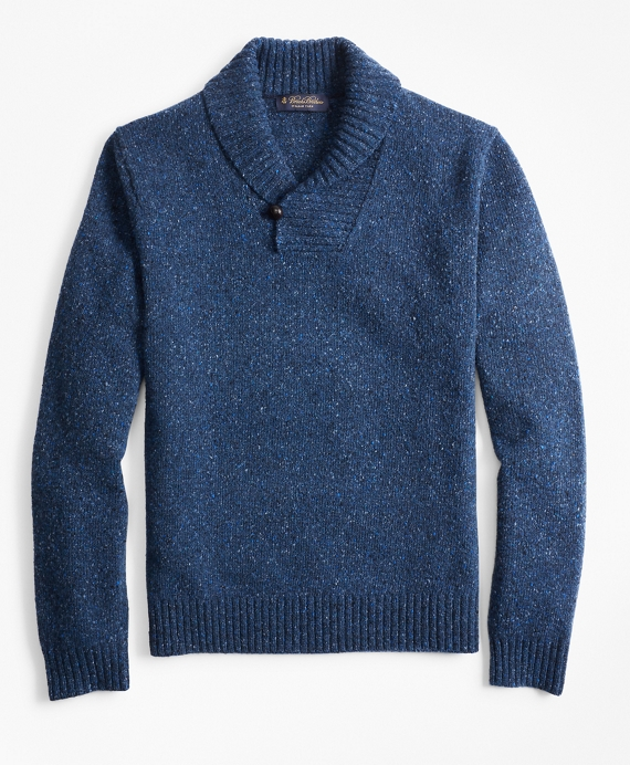 Donegal Shawl-Collar Sweater Blue