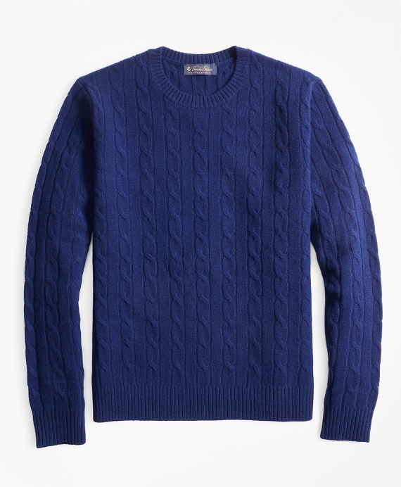 Lambswool Cable Crewneck Sweater Blue