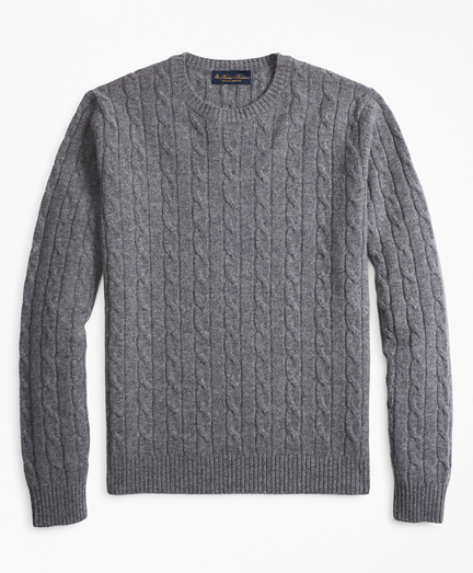 Brooksbrothers Lambswool Cable Crewneck Sweater