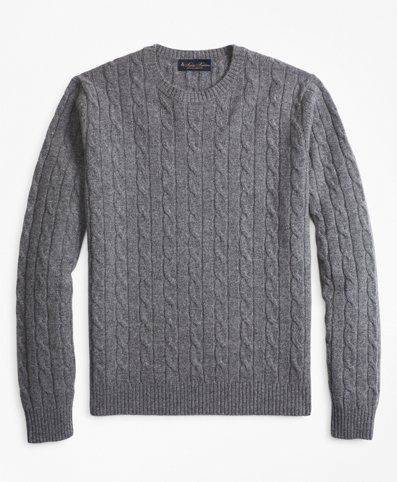 Lambswool Cable Crewneck Sweater Grey