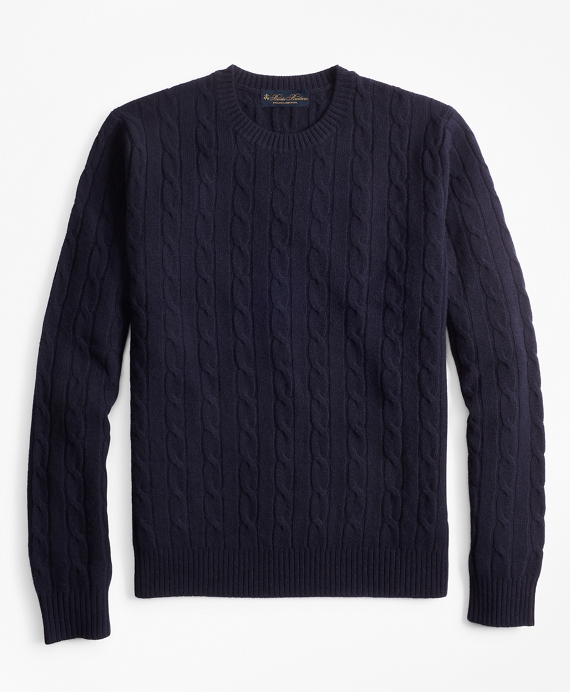 Lambswool Cable Crewneck Sweater Navy