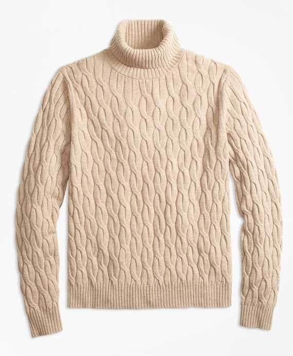 Merino Wool Cable Turtleneck Sweater Natural