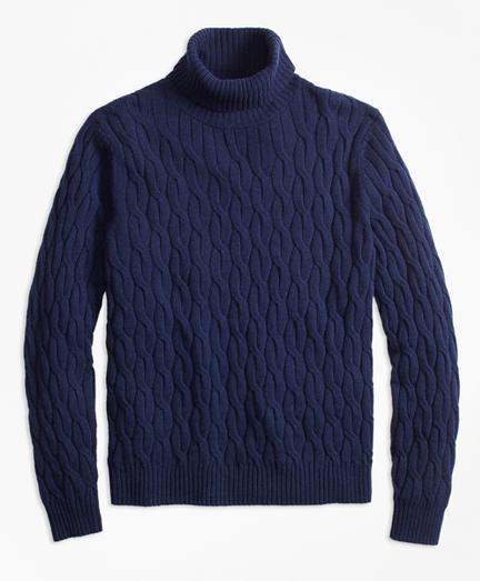 Merino Wool Cable Turtleneck Sweater