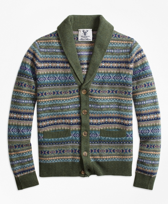 9c4df93525c3 Limited-Edition Braemar™ Lambswool Fair Isle Shawl-Collar Cardigan ...