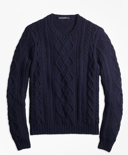 Hand-Knit Merino Wool and Alpaca Crewneck Sweater