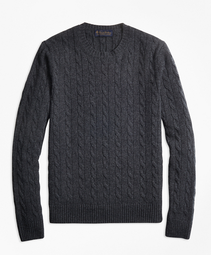 Cable-Knit Crewneck Cashmere Sweater
