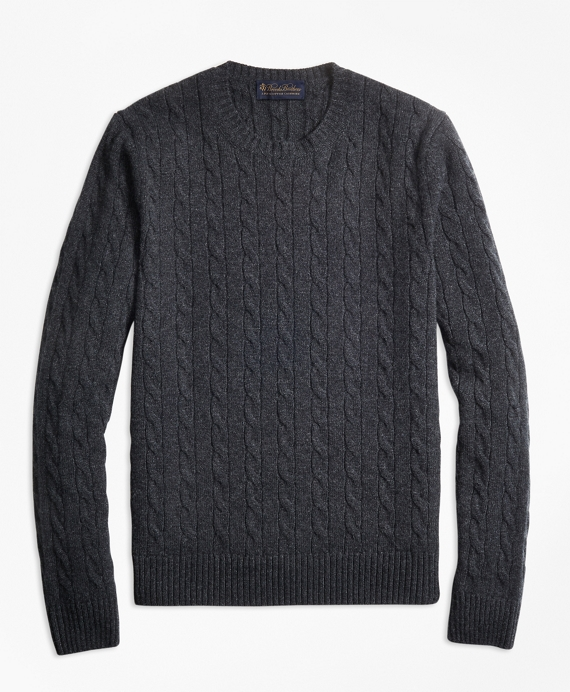 Cable-Knit Crewneck Cashmere Sweater Charcoal