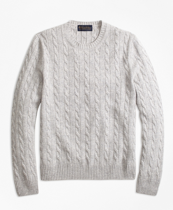 Cable-Knit Crewneck Cashmere Sweater Grey