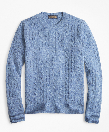 Cable-Knit Crewneck Cashmere Sweater