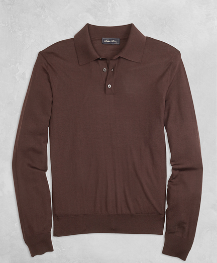 Golden Fleece® 3-D Knit Fine-Gauge Merino Long-Sleeve Polo