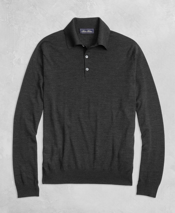 Golden Fleece® 3-D Knit Fine-Gauge Merino Long-Sleeve Polo Charcoal Heather