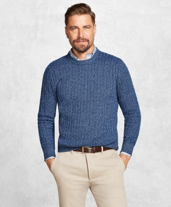 Golden Fleece® 3-D Knit Cashmere Cable Sweater Blue