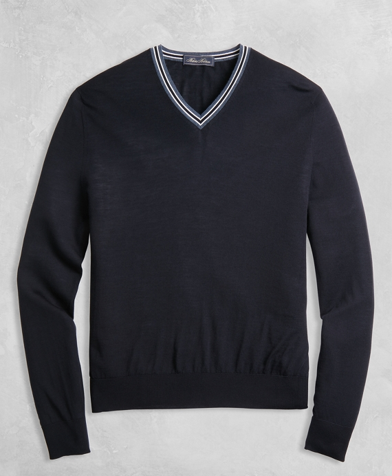 Golden Fleece® 3-D Knit Merino Fine-Gauge V-Neck Sweater Navy