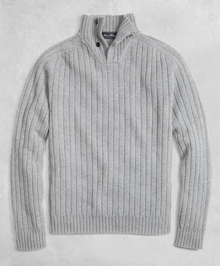 Golden Fleece® 3-D Knit Saxxon Reserve Button Mockneck Sweater