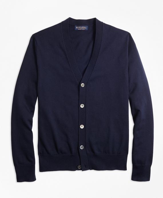 Supima® Cotton V-Neck Cardigan Navy