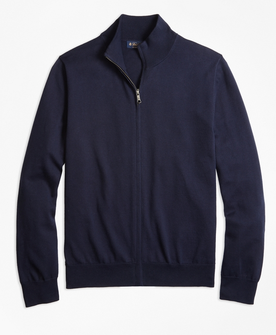 Supima® Cotton Full-Zip Cardigan Navy