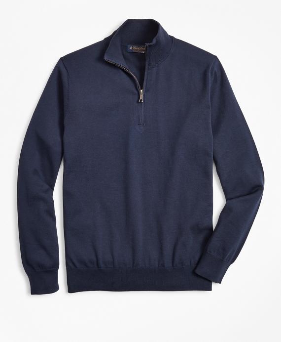 Supima® Cotton Half-Zip Sweater Navy