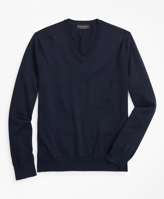 Supima® Cotton V-Neck Sweater Navy