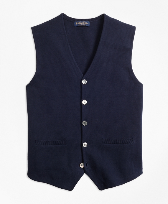 Supima® Cotton Sweater Waistcoat Navy