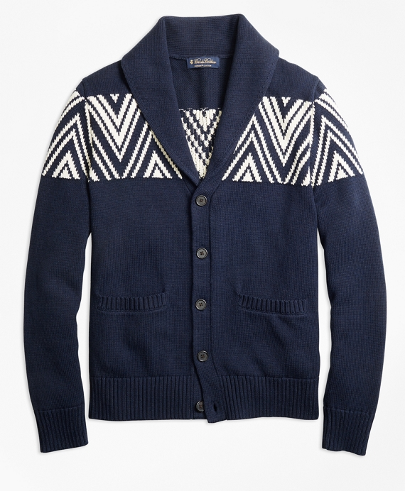 Geometric Shawl Collar Cardigan Navy