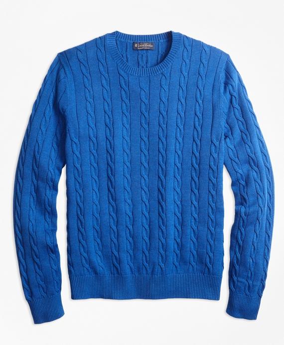 Supima® Cotton Cable Crewneck Sweater Blue