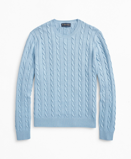 Supima® Cotton Cable Crewneck Sweater