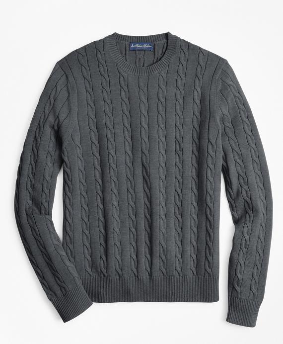 066648c432 Supima® Cotton Cable Crewneck Sweater - Brooks Brothers