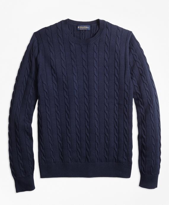 Supima® Cotton Cable Crewneck Sweater Navy