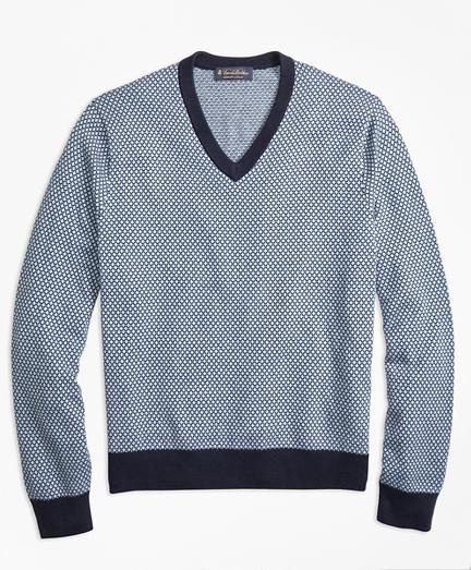 Supima® Cotton Jacquard Diamond V-Neck Sweater