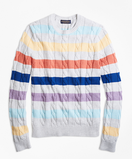 Supima® Cotton Multi-Stripe Cable Crewneck Sweater