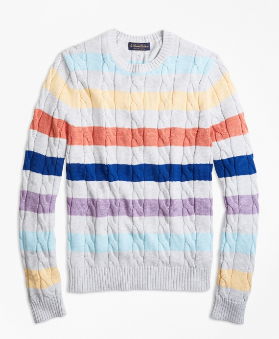 Supima® Cotton Multi-Stripe Cable Crewneck Sweater Multi