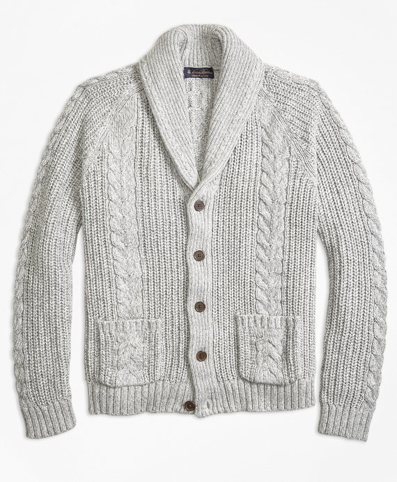 Cable Knit Shawl Collar Cardigan Grey