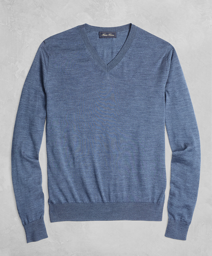 Golden Fleece® 3-D Knit Fine-Gauge Merino V-Neck Sweater