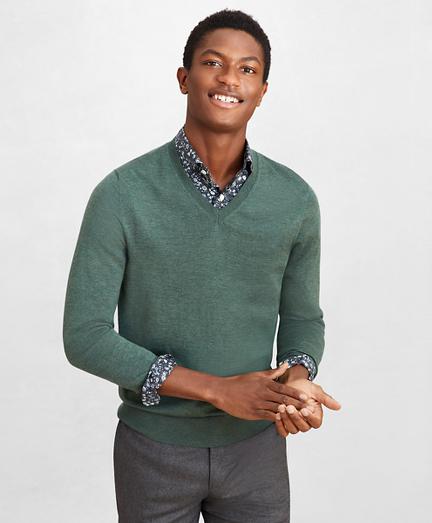 Golden Fleece® 3-D Knit Fine-Gauge Merino V-Neck Sweater