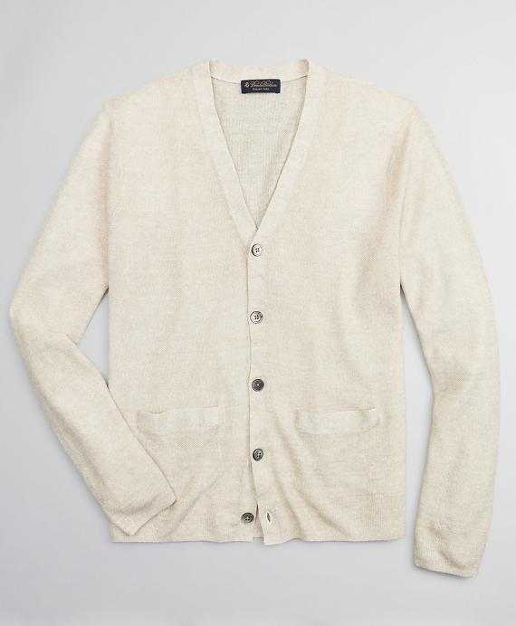 Textured Linen Cardigan Tan
