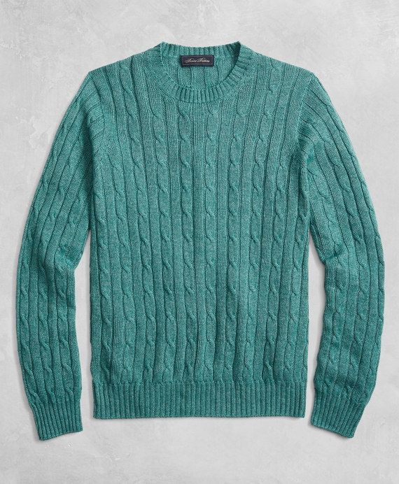 Golden Fleece® 3-D Knit Cable Crewneck Sweater Green