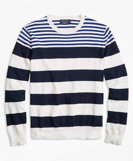 Supima® Cotton Multi-Stripe Crewneck Sweater