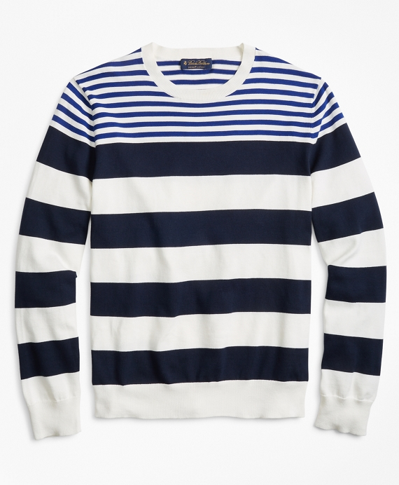 Supima® Cotton Multi-Stripe Crewneck Sweater Navy