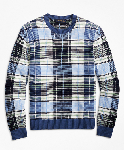 Supima® Cotton Plaid Crewneck Sweater